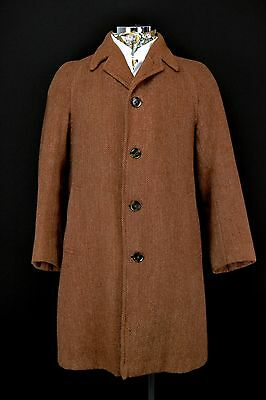 "1940's Herringbone TWEED Coat 40"" Regular Vintage Raglan Sleeve Overcoat Brown"