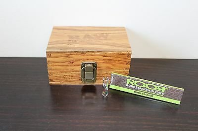 RAW Maple Wood Rolling Paper Storage Box w Magnetic Stash Box~ROOR Tip & Papers