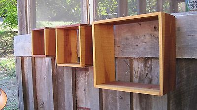 Set Of Three Vintage Rough Hewn Wall Shelves Home & Garden Primitive Shadow Box