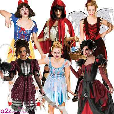 Adult Ladies Halloween Storybook Princess Zombie Womens Fancy Dress Costume