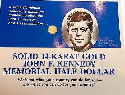 Solid Gold JFK Memorial Half Dollar Privately Minted And Limited Miniature