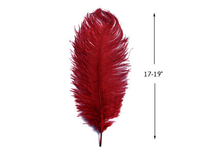 "10 Pieces - 17-19"" Burgundy Ostrich Drabs Feathers Halloween Costume Wedding"