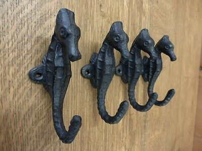 "4 BROWN 5"" SEAHORSE WALL HOOKS HANGERS RUSTIC CAST IRON coat key beach ocean sea"