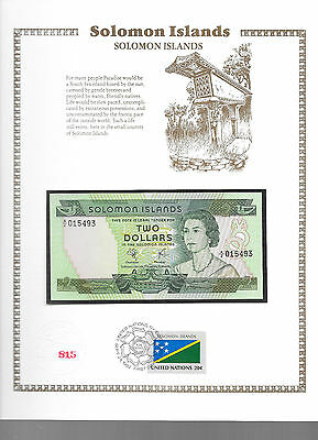 Solomon Islands Banknote 1977 $2  UNC P5 UN FDI FLAG STAMP prefix A/2 Low 015493