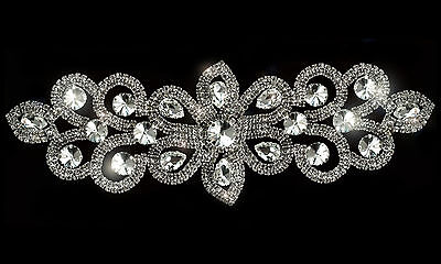 Diamante Motif Applique Rhinestone Sew on Wedding Silver Crystal Patch A71