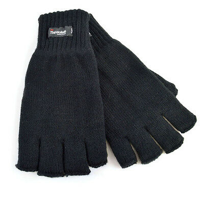 Mens  Black Fingerless Thinsulate Lined Thermal Knitted Gloves