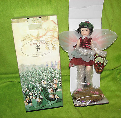 """12 """" Porcelain Doll By Carol Perciavalle The Fairy Collection Maroon NIB w/stand"""