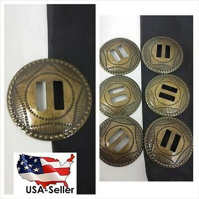 1 lot of 6 pieces gold or antique gold star brass slotted concho 38 mm.