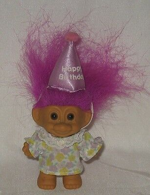 "Russ 3"" Troll in Happy Birthday Hat Fuschia Hair"