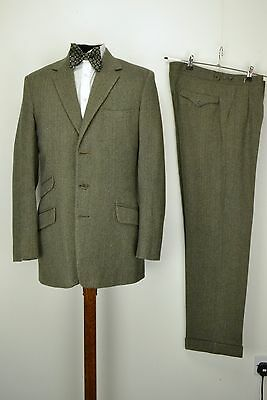 "1960s Vintage Bespoke Tailored Tweed Suit 36"" Long 3 Button Pocket Country Tweed"
