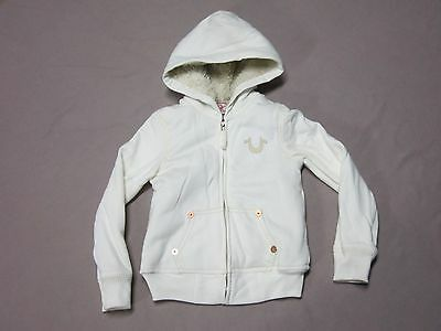 True Religion Brand Boys White Sherpa Big T Hoodie Jacket Coat Size Small New