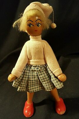 """7"""" ANTIQUE/VINTAGE Polish Wooden Character DOLL"""