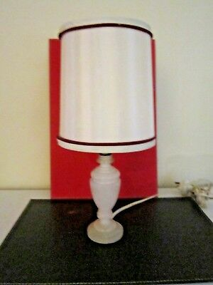 Vintage Retro Medici Alabaster Base Table Lamp With Ivory Shade