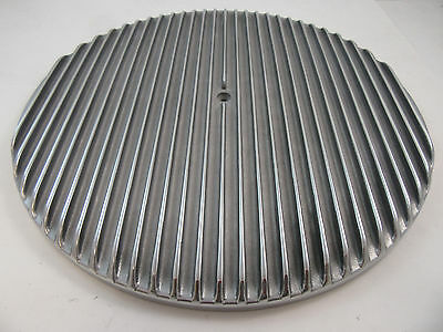 """14"""" Full Finned Retro Polished Aluminum Air Cleaner Lid Only Chevy Ford Mopar"""