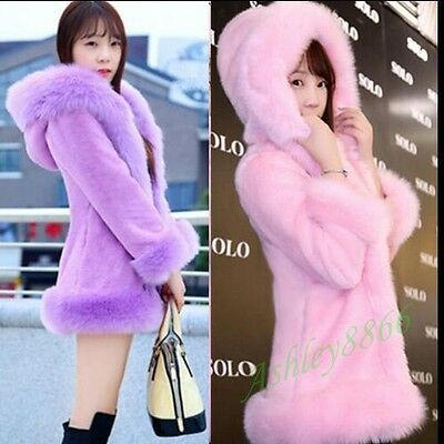 Sweet Warm Faux Fur Hooded Collage Girls Women Long Jacket Overcoats Lady Coat
