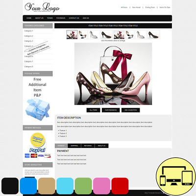 Responsive eBay Listing Template 2 Pro Design 7 Color Auction No Active Content