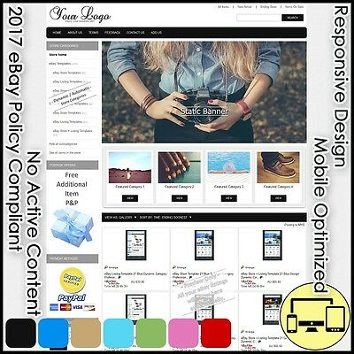 Responsive eBay Store + Listing Template 2 Dynamic Category 7 Color Pro Design