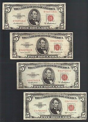 $5 DOLLARS 1953 Vintage RED United States Note OLD Money USA Legal Tender Bill