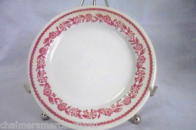 4 Buffalo China Kenmore Red Bread & Butter Plates White Red Flowers Vintage