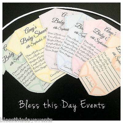 Baby Shower Game - Baby Prediction Card Clothesline - SMALL size - 18 Guests