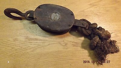 Vintage Single Block Pulley Wood