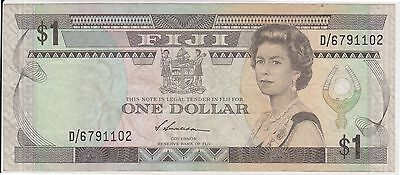 (YAC-52) 1992 Fiji $1 QEII Bank note (A)