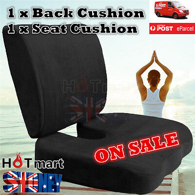 Memory Foam Coccyx Orthoped Seat Cushion Back Support Cushion Lumbar Pain Relief