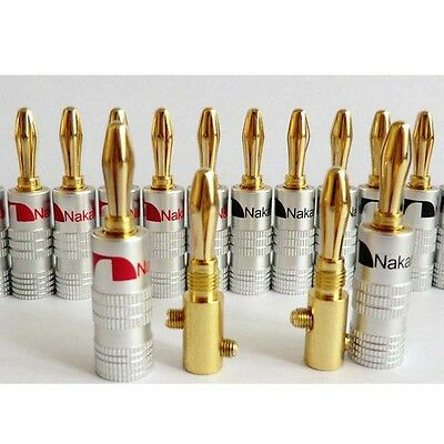 24Pcs 24K Banana Plug Adapter Audio Jack Connector for Nakamichi Speaker Cable