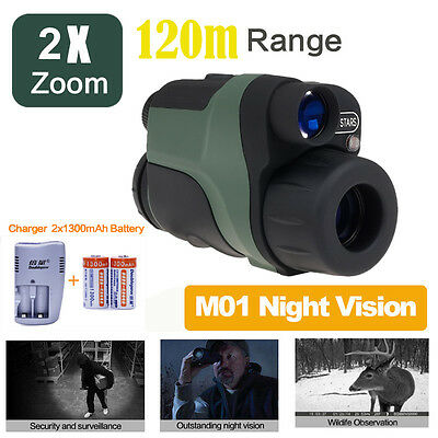 Night Vision Goggles Monocular Security Surveillance Hunt Scope+Battery/Charger