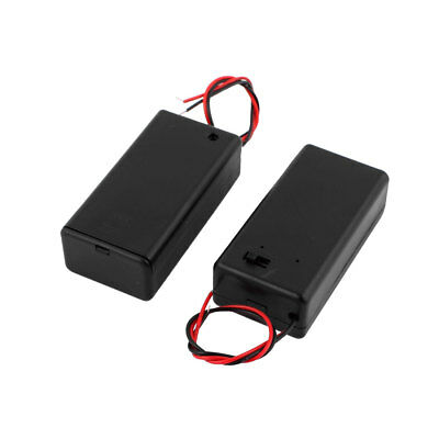 2pcs Black Plastic Wire Leads Battery Holder Case Box Container for 1 x 9V Cell