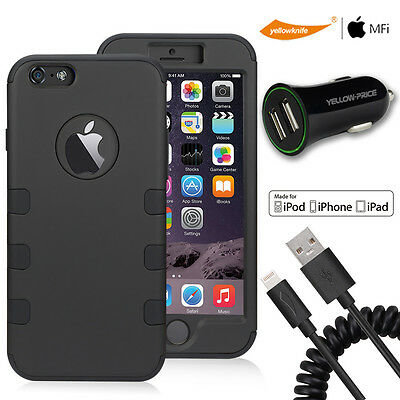 Neo Hybrid Armor Case For iPhone 6S 6 Spring Sync Charger Cable USB Car Charger