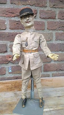 Very rare antique militaria doll, soldier,paper-mache,15,5',orig.dressed,French