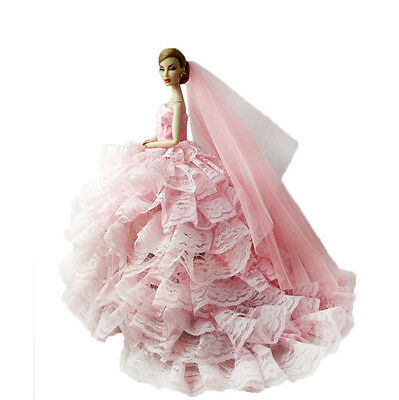 Luxury Wedding Party Trailing Lace Dress Clothes w/ Veil For Barbie Doll Pink
