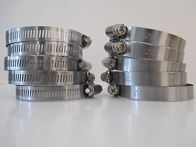 10 pcs Perforated SS Hose Clamps with diameter range 76mm-102mm (3-4 inches)