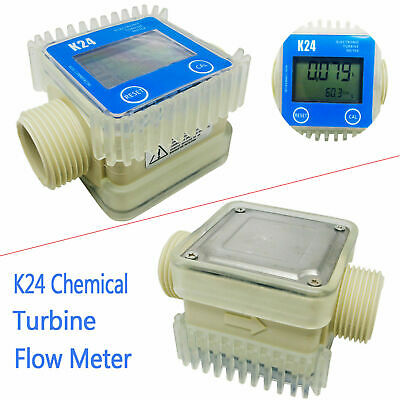 Pro K24 Turbine Digital Diesel Fuel Flow Meter For Chemicals Water Color blue