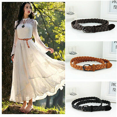 Women's Weave Belt Causal Narrow Thin Skinny Braided Waistband Plus Size Belt