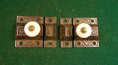 PAIR of MATCHING VICTORIAN EASTLAKE CABINET LATCHES w/ KEEPERS BEAUTIFUL (4516)
