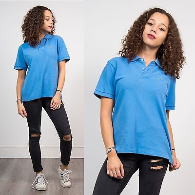 Womens Retro Lacoste Blue Polo T-Shirt Top Casual Short Sleeve Loose Fit 12 14