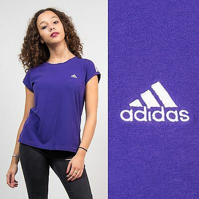 Adidas Purple Short Sleeve Scoop Neck T-Shirt Top Casual Retro Oversize 18