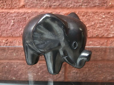 Pottery Gun-metal coloured novelty elephant ornament