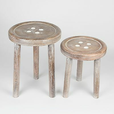 """Set of 2 """"Button Shaped"""" Carved Wooden Stools - Shabby Chic Children's Gift"""