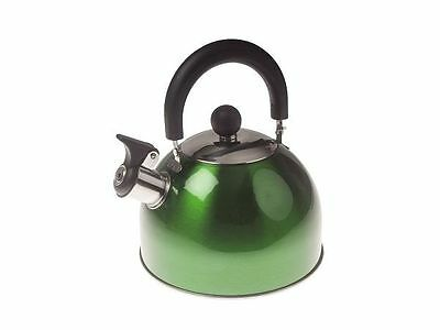 Kampa Brew Stainless Steel 2 Litre Whistle Camping Kettle - Various Colours
