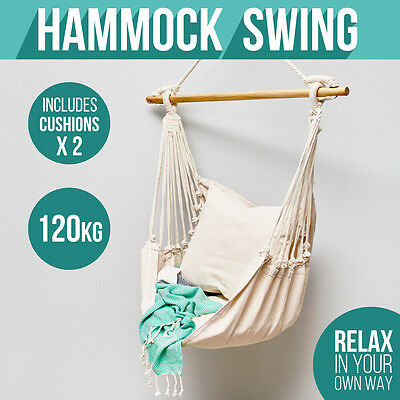 Deluxe Hanging Hammock Chair Swing INCLUDES luxuriously Soft Cushions Hammocks