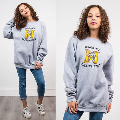 Vintage 90's Crew Neck Oversize Sweatshirt College Sweater Jumper Womens 16