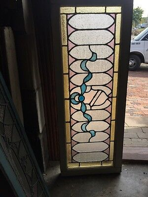 Sg 869 Antique Transom Window With Large Blue Jewel Textured Glass