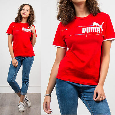 Vintage 90's Puma T-Shirt Bright Red Crew Neck Short Sleeve Casual Retro 8