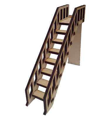 Dolls House Staircase, Wooden Stairs with banister Rail each side