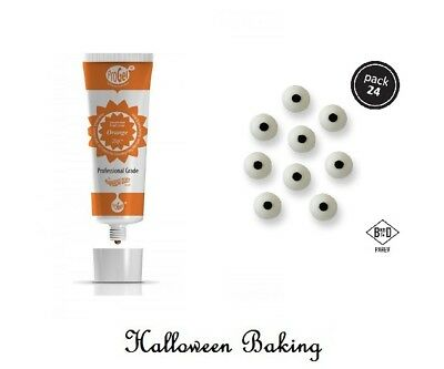 Rainbow Dust ORANGE ProGel Paste & Eyes Icing Toppers For Halloween Decorations