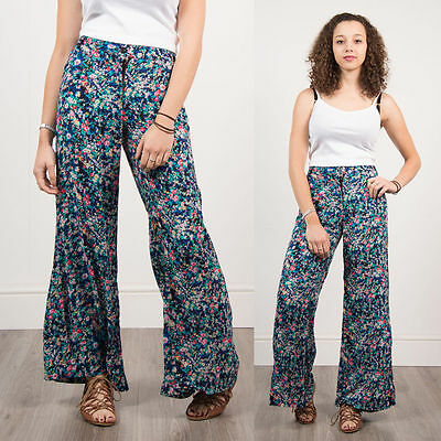Womens Retro Blue Ditsy Pattern Floral Summer Trousers Loose Fit Casual 16