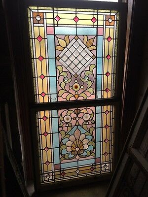 Sg 873 Antique Victorian Jeweled Landing Window